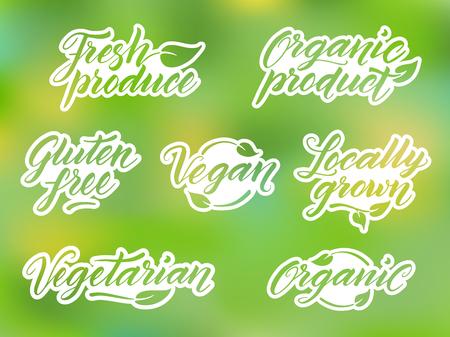 saludable logo: Dibujado a mano leyendas grabadas en alimentos saludables. Etiqueta, logotipo, plantilla de credencial contra el fondo borroso.