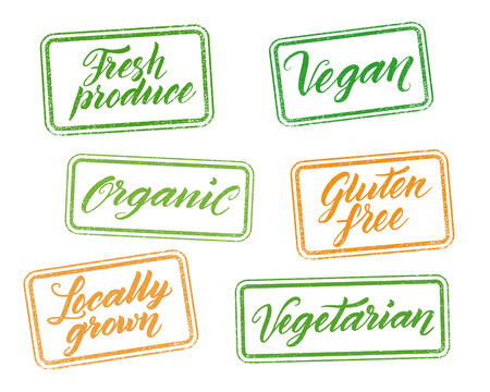 grown: Healthy food stamps with hand drawn letterings isolated on white. Layered vector illustration, can be placed on any background you like. Organic, gluten free, vegan, locally grown, vegetarian, fresh produce labels. Illustration