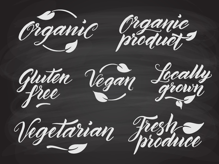 produce product: Hand drawn healthy food letterings stylized with chalk on blackboard. Organic, organic product, gluten free, vegan, locally grown, vegetarian, fresh produce. Label, logo template. Eps 10 vector. Illustration