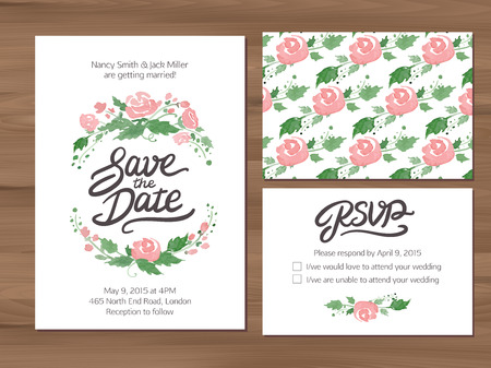 invitation wedding: Wedding set with watercolor flowers and hand drawn lettering. Save the date invitation, RSVP card, seamless floral background. Seamless illustrator swatch for background included. Free font used - Afta sans. Illustration