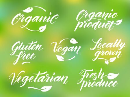 produce product: Hand drawn healthy food brush letterings. Organic, organic product, gluten free, vegan, locally grown, vegetarian, fresh produce. Label, logo template against blurred background.