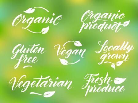 fresh produce: Hand drawn healthy food brush letterings. Organic, organic product, gluten free, vegan, locally grown, vegetarian, fresh produce. Label, logo template against blurred background.