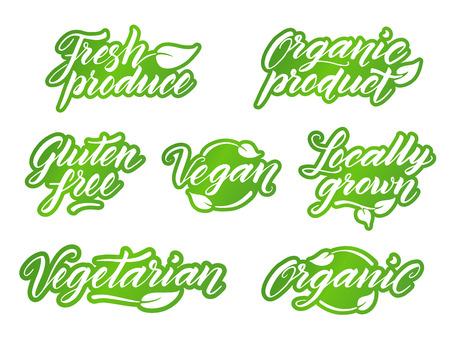 Disegno a mano incisioni alimentari sane. In stile retrò etichetta, logo, modello distintivo isolato su sfondo bianco. Archivio Fotografico - 57336150