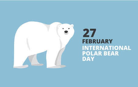 Cartel del Día Internacional del oso polar. Caminando o de pie de oso polar, vista lateral. ilustración de estilo plano