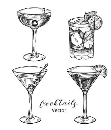cocktail bar: Set of hand drawn alcoholic cocktails, vector illustration. Illustration