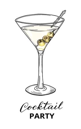 Modello di progettazione cocktail party. Cocktail disegnato a mano nel bicchiere da martini con olive. Illustrazione vettoriale Eps10.