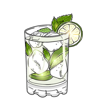 mojito: Hand drawn mojito cocktail isolated on white background. Eps10 vector illustration. Illustration