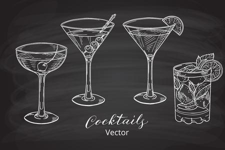 coquetel: Jogo da mão cocktails alcoólicas tirada, estilo placa de giz. ilustração do vetor.