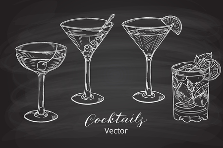 chalk drawing: Set of hand drawn alcoholic cocktails, chalk board style. Vector illustration.