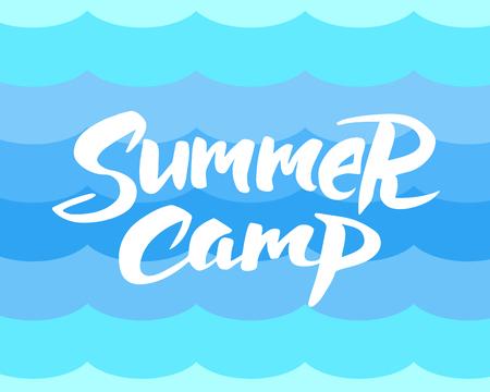Camp d'été dessinés à la main pinceau lettrage. Étiquette de camping d'été, illustration vectorielle Vecteurs