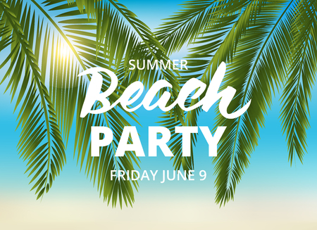 sunset beach: Beach party poster template with typographic elements. Summer background with palm leaves and lettering.  vector illustration.