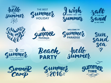 Summer hand drawn brush letterings. Summer typography - hello summer, summer camp, welcome to summer paradise, the best summer holiday, beach party, summer 2016. Ilustracja