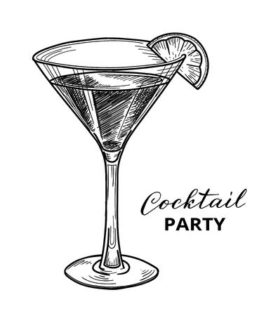 Dibujado a mano cóctel, ilustración vectorial. Cóctel plantilla de diseño de la fiesta Ilustración de vector