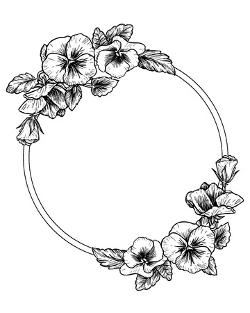 Frame with hand drawn pansy flowers, vector illustration. Vintage style. Vettoriali