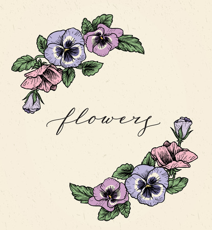 Frame with hand drawn pansy flowers, vector illustration. Vintage style. Illustration