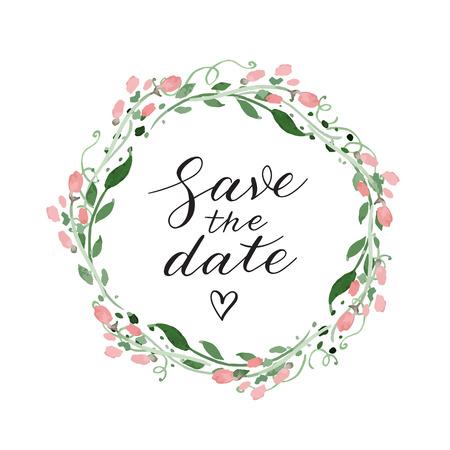La invitación de la boda de la fecha con la guirnalda de la acuarela y la caligrafía Foto de archivo - 61107724