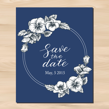 pansy: Save the date wedding invitation with hand drawn pansy flowers and calligraphy