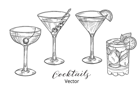cherries isolated: Set of hand drawn alcoholic cocktails