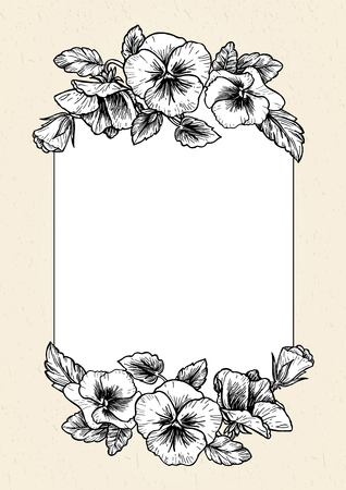 retro flowers: Frame with hand drawn pansy flowers illustration. Vintage style.