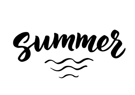 summer holidays: Summer hand drawn brush lettering. Summer holidays poster Illustration