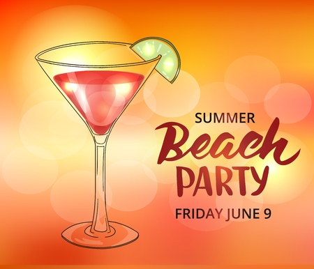 Summer beach party poster template. Typographic elements, brush lettering and hand drawn cocktail in martini glass.