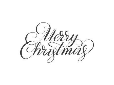 筆文字でメリー クリスマスのタイポグラフィ。クリスマスのロゴ