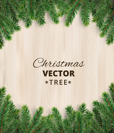 firtree: Christmas tree branches on wooden background, vector illustration. Realistic fir-tree border, frame. Great for christmas cards, banners, flyers, party posters.