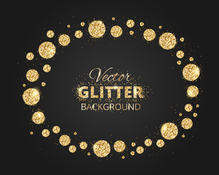 shiny black: Black and gold background with shiny glitter dots decoration and space for text. Glitter frame, great for christmas and birthday cards, wedding invitation, celebration posters. Eps10 vector illustration.