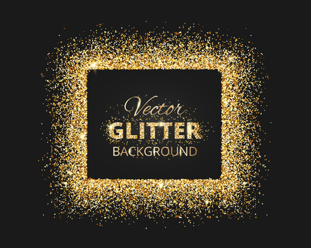 Black and gold background with glitter frame and space for text. Vector glitter decoration, golden dust. Great for christmas and birthday cards, wedding invitation, party posters and flyers. Banco de Imagens - 68892742
