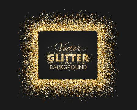 Fondo negro y oro con el marco del brillo y el espacio para el texto. brillo decoración del vector, el polvo de oro. Grande para la Navidad y tarjetas de cumpleaños, invitación de la boda, carteles del partido y volantes.