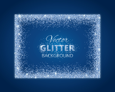 birthday decoration: Shiny background with glitter frame and space for text. Vector glitter decoration, Snow border. Great for christmas and birthday cards, wedding invitation, party posters and flyers.