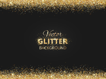 Black and gold background with glitter border and space for text. Vector glitter frame, golden dust. Great for christmas and birthday cards, wedding invitation, party posters and flyers. Ilustração