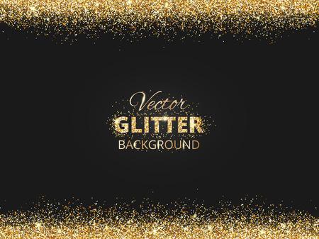 Sfondo nero e oro con bordo glitter e spazio per il testo. Vettore glitter frame, polvere d'oro. Grande per le carte di natale e di compleanno, invito di nozze, manifesti di partito e volantini. Archivio Fotografico - 68892767