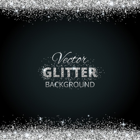 Shiny background with silver glitter frame and space for text. Vector glitter decoration, great for christmas and birthday cards, wedding invitation, party posters and flyers. Vettoriali
