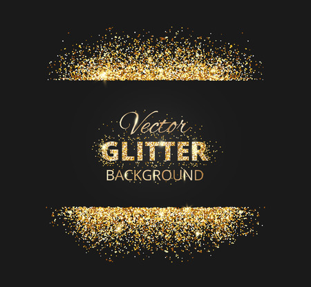 Black and gold background with glitter frame and space for text black and gold background with glitter frame and space for text vector glitter decoration stopboris Gallery