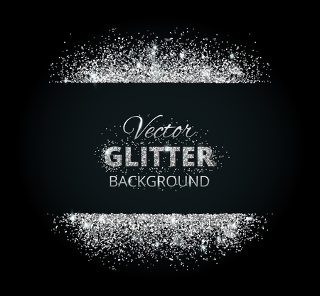 Shiny background with silver glitter frame and space for text. Vector glitter decoration, great for christmas and birthday cards, wedding invitation, party posters and flyers. Stock Illustratie