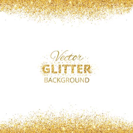 Hintergrund mit Glitter goldenen Rahmen und Platz für Text. Vector Glitzerdekoration, Goldstaub. Groß für Weihnachten und Geburtstagskarten, Hochzeit, Einladung, Partei Plakate und Flyer.
