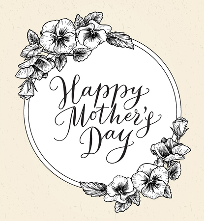happy mom: Happy mothers day card with text and frame of vintage botanical