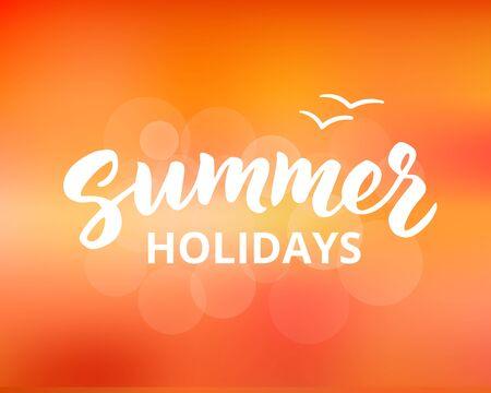 summer holidays: Summer holidays hand drawn brush lettering
