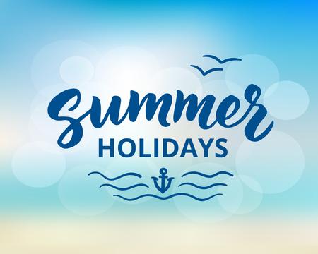 Summer holidays hand drawn brush lettering