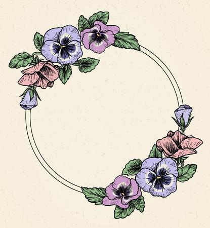 パンジーの花を手描きのフレーム