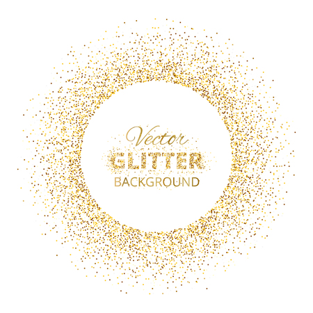 Festive background with golden glitter circle frame