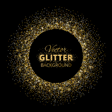 gold textured background: Black and gold background with glitter frame Illustration