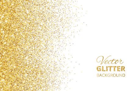 Illustrazione vettoriale di coriandoli di glitter cadenti, polvere d'oro. Vettoriali