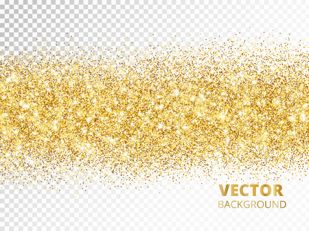 Sparkling glitter border isolated on transparent background, vec