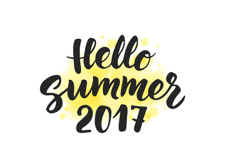 po: Summer 2017 text, hand drawn brush lettering. Great for party po