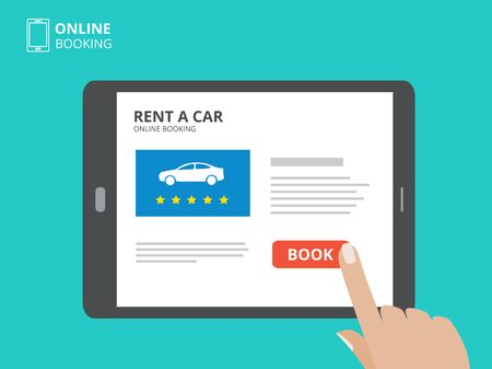 using smartphone: Hand holding smartphone with car icons and rent a car button on screen. Design concept of car hire mobile application