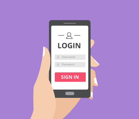 Hand holding smart phone with user login form page and sign in button. Username and password box. Stock Illustratie