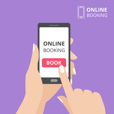 Hand holding smartphone with book button on screen. Concept of online booking mobile application. 免版税图像 - 82340362