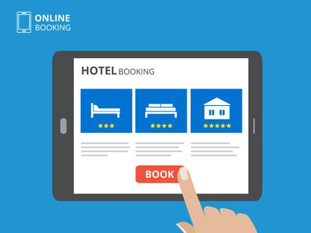 Designkonzept der Hotelbuchung online. Tablet-Computer mit der Hand, die einen Bildschirm berührt. Anzeige mit Buchknopf- und Bettikonen.